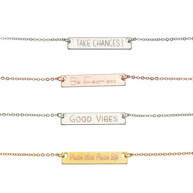 Personalized Inspirational Horizontal Bar Necklace keeps you inspired by allowing you to wear meaningful words or short quotes