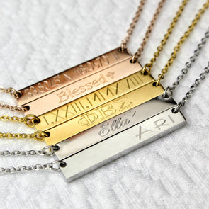 This horizontal personalized bar necklace is the perfect sentimental gift for yourself or your loved ones
