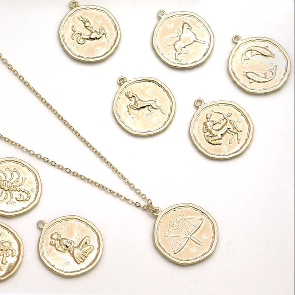 This zodiac symbol coin vintage necklace comes in your choice of coin.