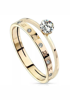 Roman Numeral Solitaire Ring
