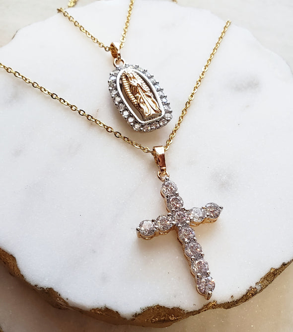 Vintage Holy Mary & Cross Necklace Set
