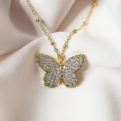 cz butterfly necklace. butterfly. gold necklace. butterfly necklace. gift for her. gift for daughter. gift for mom. birthday gift. anniversary gift. Christmas gift.