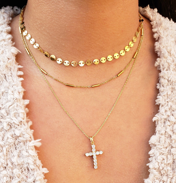 Cross Layered Necklace Set
