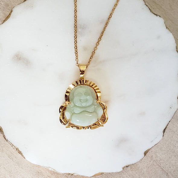 Light Jade Buddha Necklace