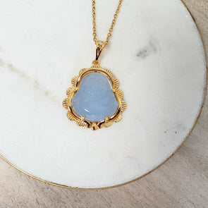 Soft Blue Buddha Necklace