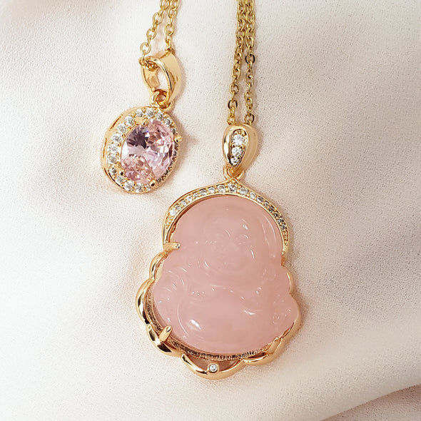 CZ & Pink Buddha Necklace Set