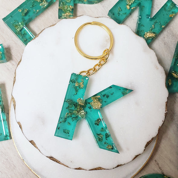 Teal Initial Keychain