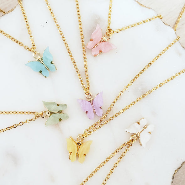 butterfly necklace. gold necklace. gold butterfly necklace. gift for her. gift fro mom. gift for daughter. gift for girlfriend. anniversary gift. graduation gift. Christmas gift. birthday gift. holiday gift. multi color butterflies. pink butterfly, white butterfly, green butterfly, blue butterfly, yellow  butterfly.