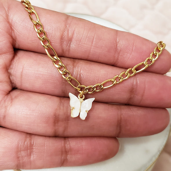 Gold Figaro Butterfly Anklet