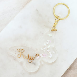 Handmade Butterfly Name Keychain