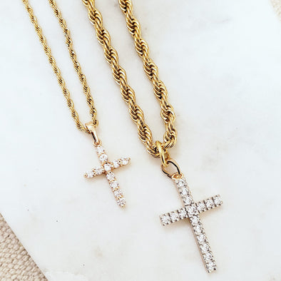 Gold Cross Necklace Set