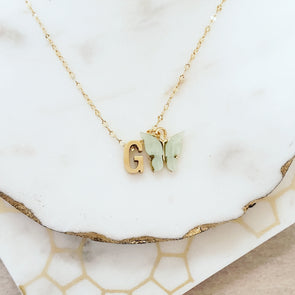 initial necklace. butterfly necklace. gold initial necklace. necklace. gold necklace. necklace. gift for mom. gift for her. gift for girlfriend. graduation, Christmas, birthday, anniversary gift.