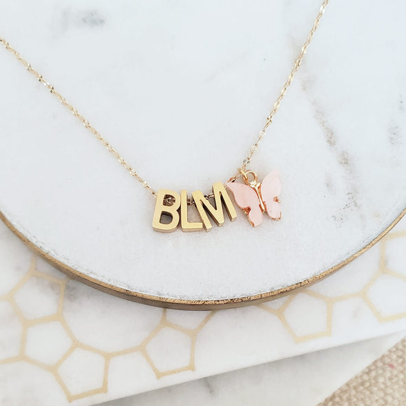 Gold BLM Butterfly Necklace