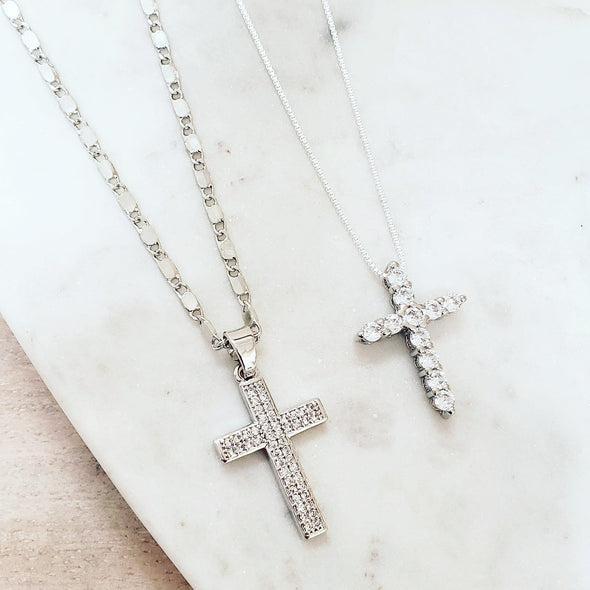 Silver Cross Necklace Set