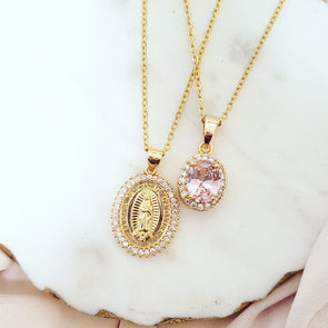 Pink Virgin Mary Crystal Necklace Set