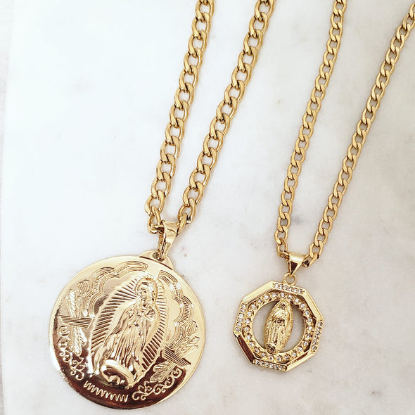 Virgin Mary Necklace Set