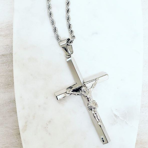 Men's Silver Crucifix Necklace