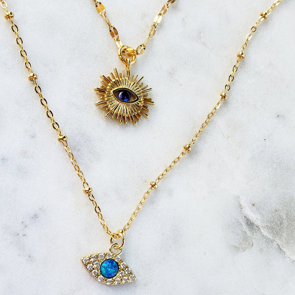 blue eye necklace set. blue eye necklace. gold necklace. necklace set. gift for her. graduation, anniversary, birthday, Christmas gift. blue eye.