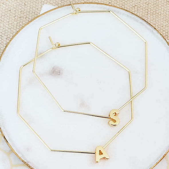 Gold Octagon Letter Hoops