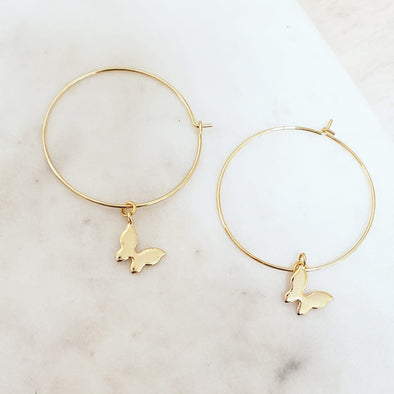 Golden Butterfly Hoops