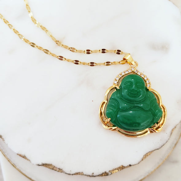 Green Jade Buddha Necklace