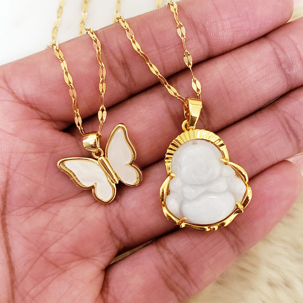 White Butterfly & Buddha Necklace Set