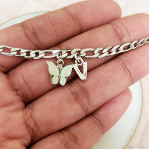 Silver Figaro Charm Anklet