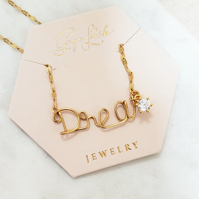 Handmade Script Diamond Necklace