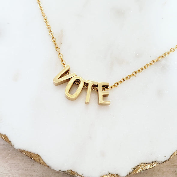 VOTE Letter Necklace