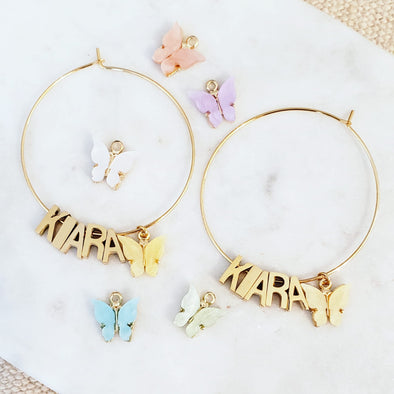 Name Butterfly Hoops