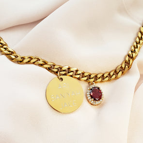 Birthstone Personalized Coin Necklace