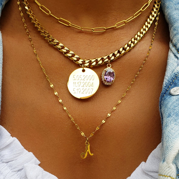 3 Layer Birthstone Coin Necklace Set