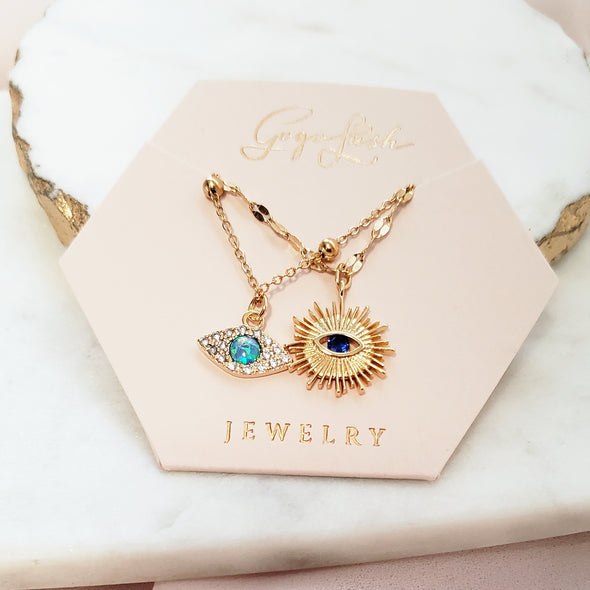 Blue Eye Sun Burst Necklace Set