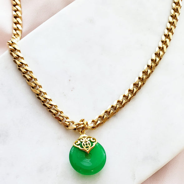 Ornate Real Jade Pendant Necklace