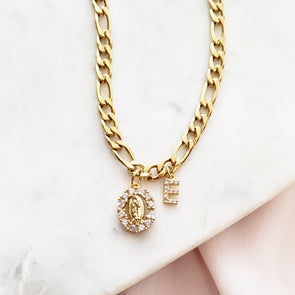 Diamond Virgin Mary Initial Necklace
