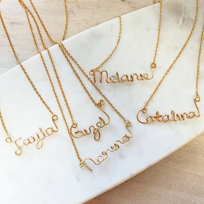 Handmade Script Necklace - (Gold or Silver)