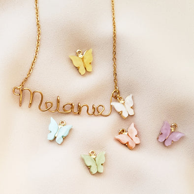 Handmade Script Butterfly Necklace