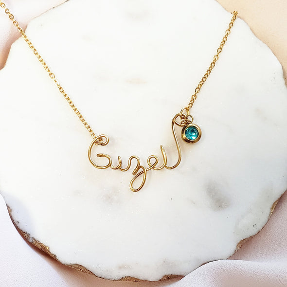 Birthstone Script Custom Necklace
