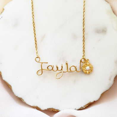 Flower Script Custom Necklace