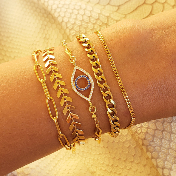 Golden Eye Bracelet Stack