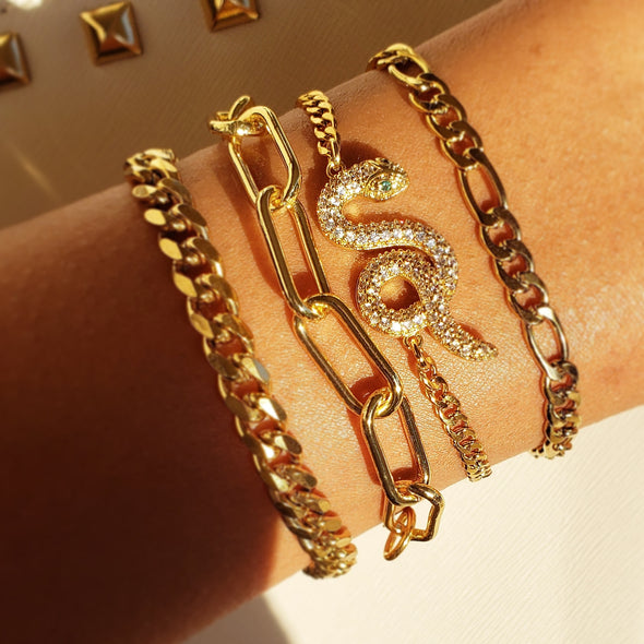 Golden Snake Bracelet Stack