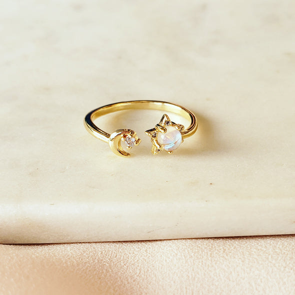 Star & Moon Cuff Ring