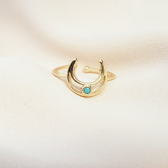 Turquoise Stone Moon Ring
