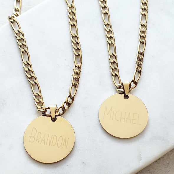 Gold Men's Custom Coin Necklace