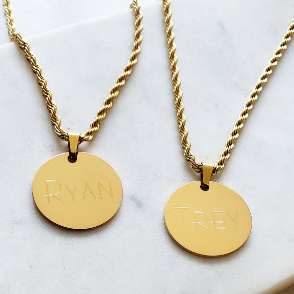His & His Gold Coin Necklace Set