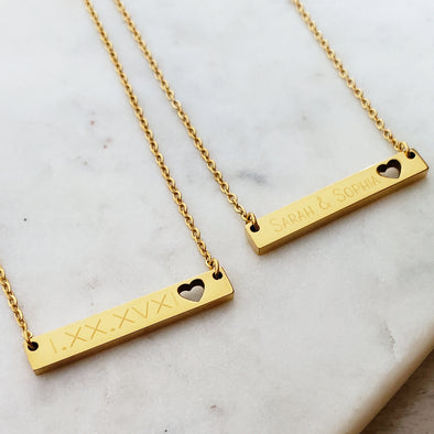 Hers & Hers Heart Bar Necklace Set
