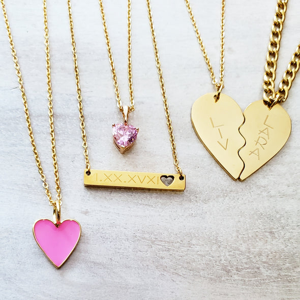 Pink Diamond Heart Necklace