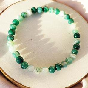 Green Striped Agate Natural Stone Bracelet