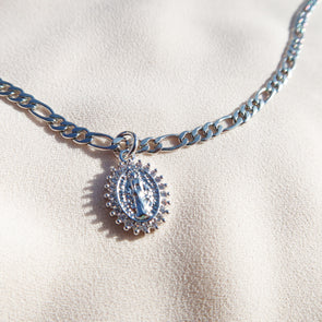 Silver Virgin Mary Anklet