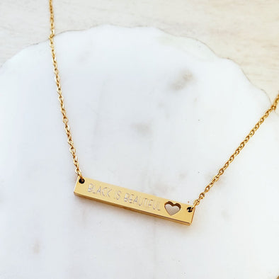 Engraved Open Heart Bar Necklace
